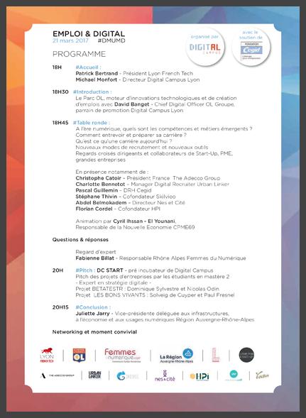 Programme de l'événement Emploi & Digital