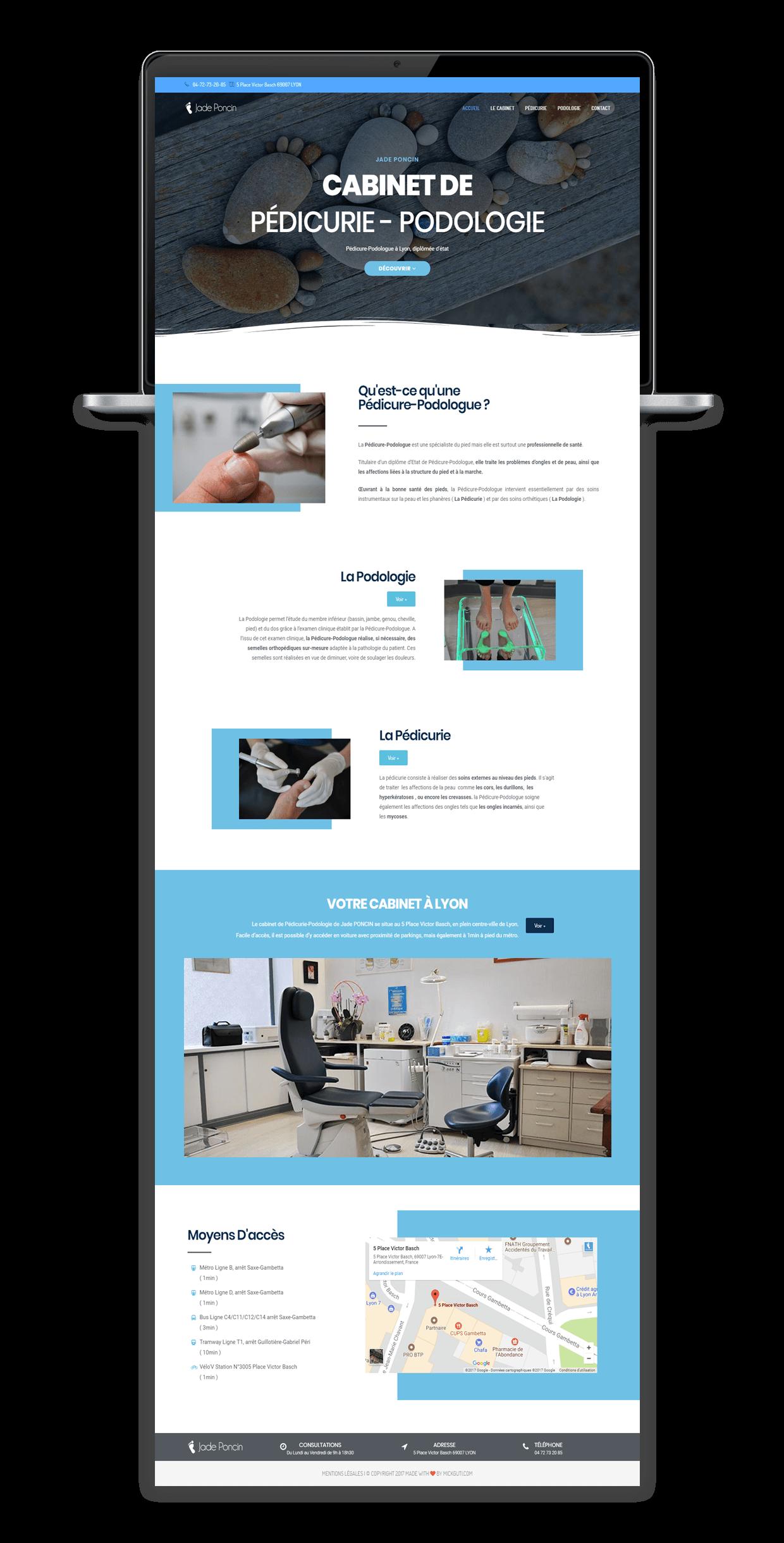 Site internet du cabinet de pédicurie podologie à lyon